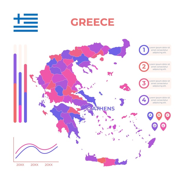 Plantilla de infografía de mapa de grecia dibujado a mano vector gratuito