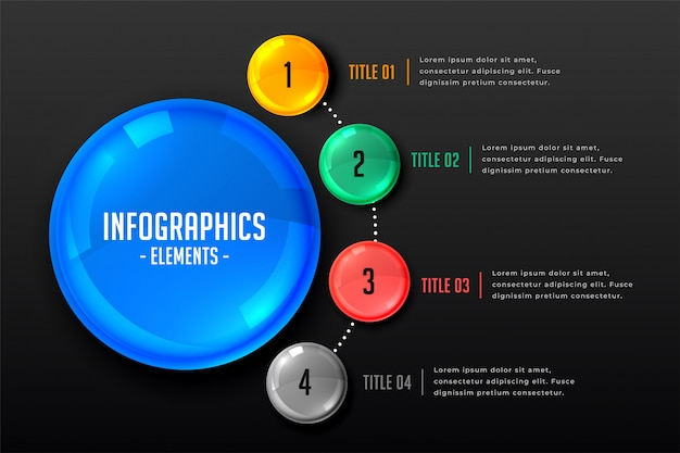 Plantilla de infografía de marketing con cuatro pasos. vector gratuito