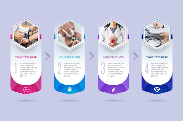 Plantilla de infografía médica con foto Vector Premium
