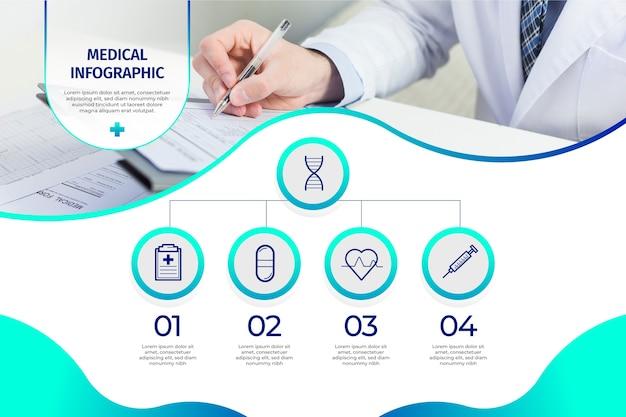 Plantilla de infografía médica vector gratuito