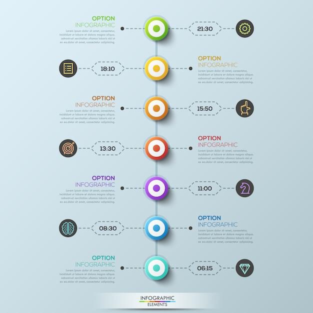 Plantilla de infografía moderna, 7 elementos circulares conectados con cuadros de texto por líneas punteadas Vector Premium