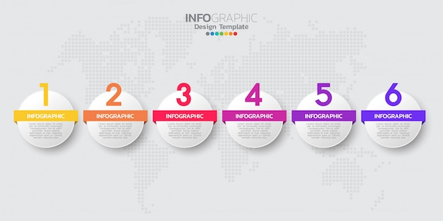 Plantilla de infografía moderna línea de tiempo colorido con seis pasos Vector Premium