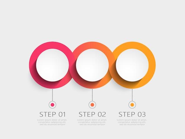 Plantilla de infografía moderna con pasos Vector Premium