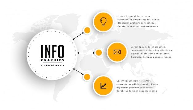 Plantilla de infografía moderna con tres pasos. vector gratuito