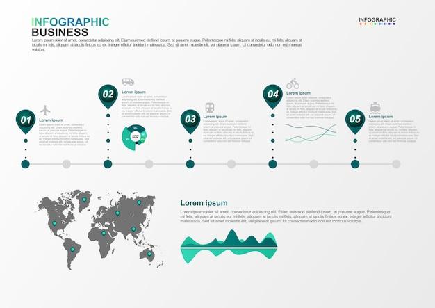 Plantilla de infografía para negocios 5 opciones en concepto de transporte Vector Premium