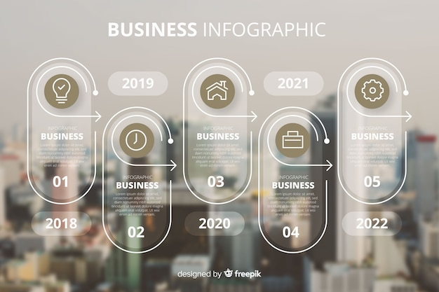Plantilla de infografía de negocios con foto vector gratuito