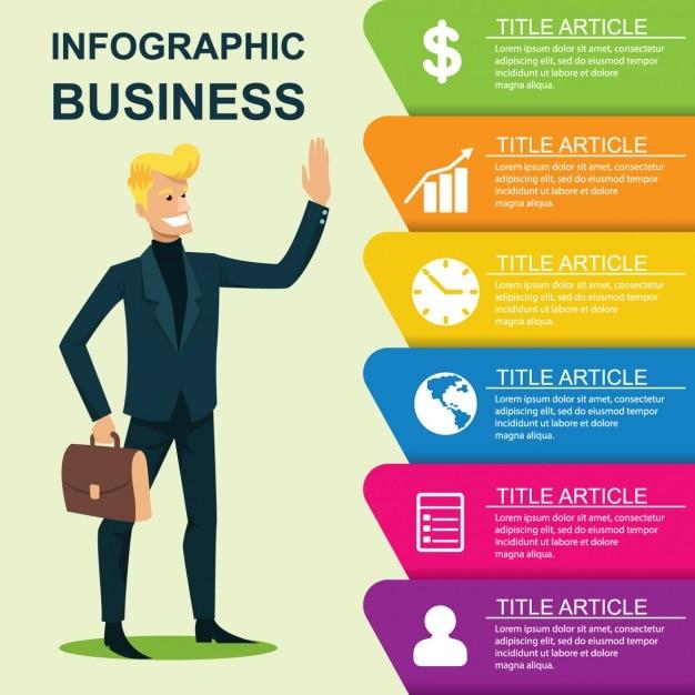 Plantilla de infografía de negocios vector gratuito