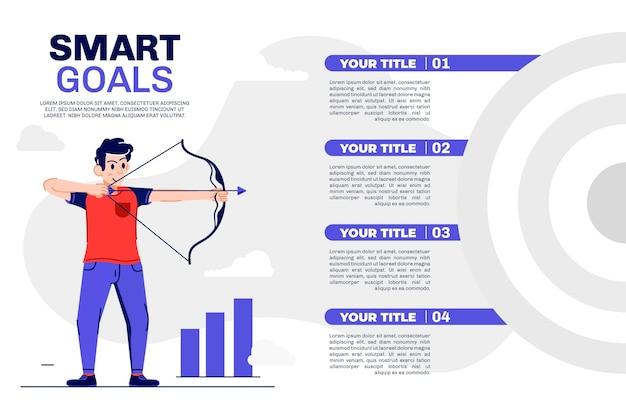 Plantilla de infografía de objetivos vector gratuito