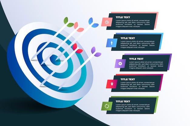 Plantilla de infografía de objetivos Vector Premium