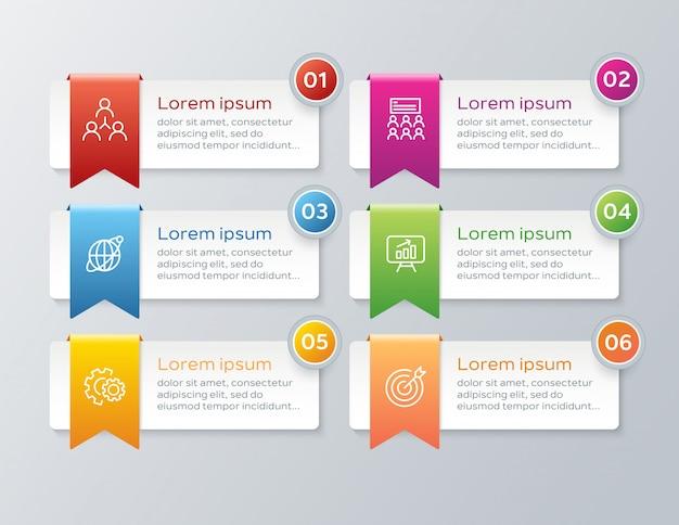 Plantilla de infografía paso colorido Vector Premium