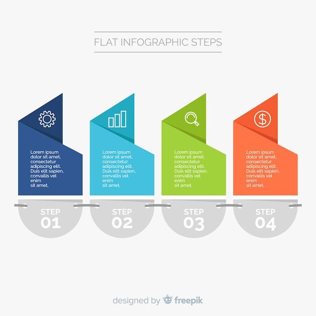 Plantilla de infografía con pasos en diseño plano vector gratuito