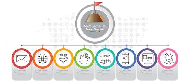 Plantilla de infografía con pasos y proceso para su diseño. Vector Premium