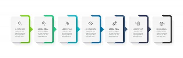Plantilla de infografía con pasos Vector Premium