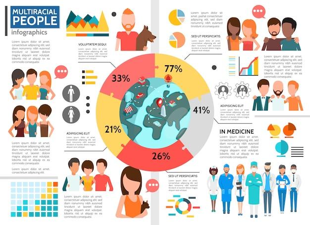 Plantilla de infografía de personas planas multirraciales vector gratuito
