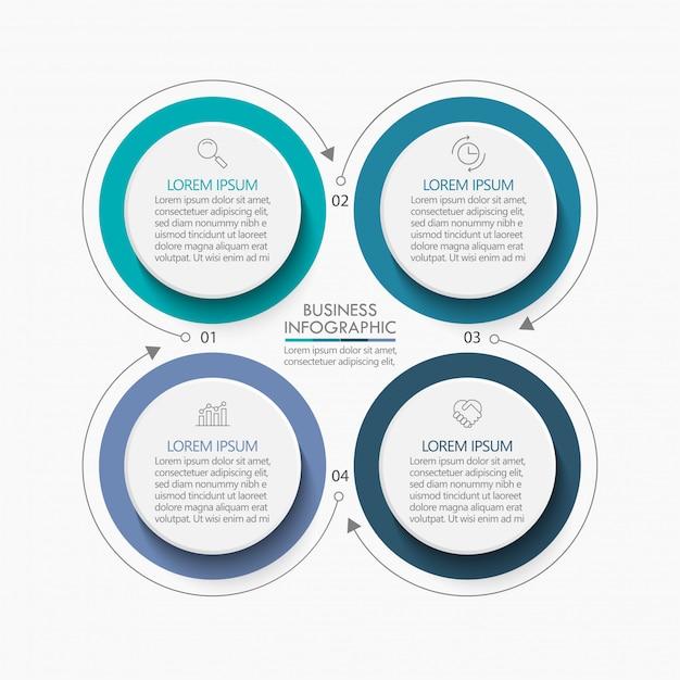 Plantilla de infografía presentación círculo empresarial Vector Premium