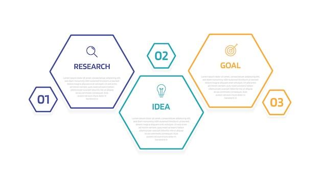 Plantilla de infografía de procesos de negocio con opciones o pasos. diseño de papel moderno con línea fina. gráfico de ilustración. Vector Premium