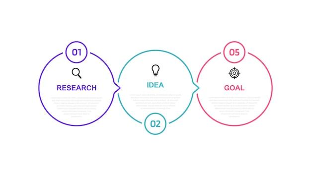 Plantilla de infografía de procesos de negocio con opciones o pasos. linea fina . gráfico de ilustración. Vector Premium