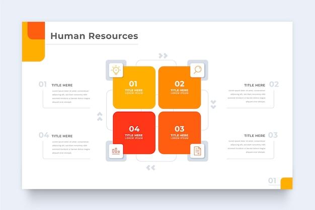 Plantilla de infografía de recursos humanos con cuadrados Vector Premium