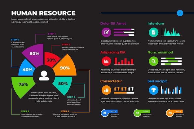 Plantilla de infografía de recursos humanos Vector Premium