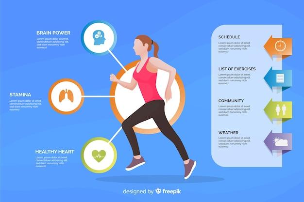 Plantilla de infografía de salud estilo plano vector gratuito