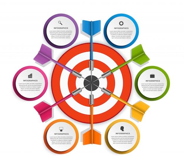 Plantilla de infografía con seis opciones. Vector Premium