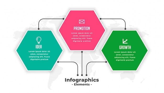 Plantilla de infografía de tres pasos de forma hexagonal vector gratuito