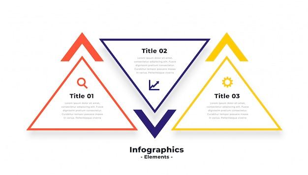 Plantilla de infografía de tres pasos en forma de triángulo vector gratuito