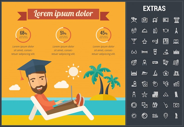 Plantilla de infografía de viajes, elementos e iconos Vector Premium
