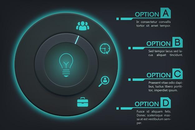 Plantilla de infografía web empresarial con cuatro pasos vector gratuito