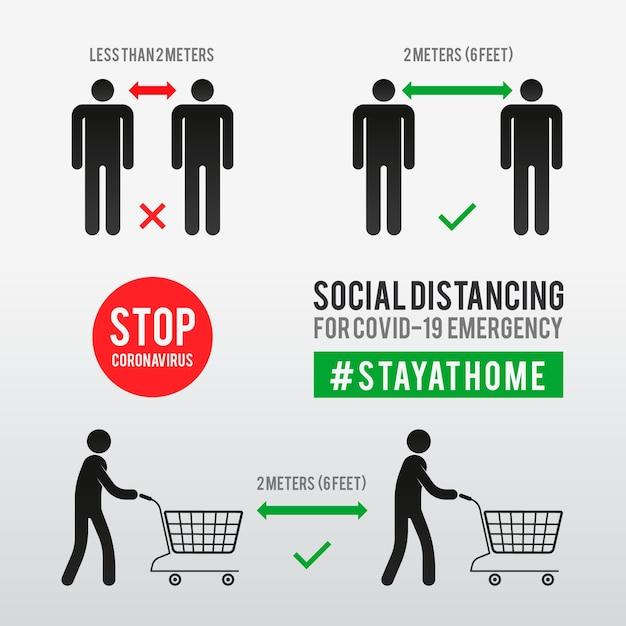 Plantilla de infografías de distanciamiento social Vector Premium
