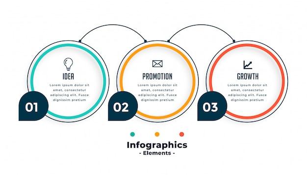 Plantilla de infografías de línea de círculo de tres pasos vector gratuito