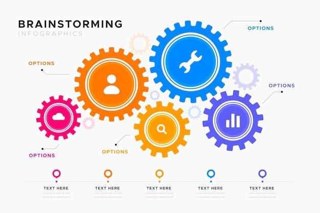 Plantilla de infografías de lluvia de ideas vector gratuito