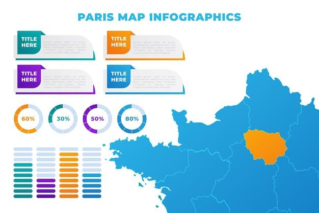 Plantilla de infografías de mapa de parís degradado vector gratuito