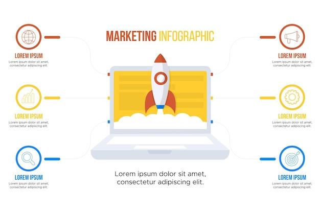 Plantilla de infografías de marketing Vector Premium