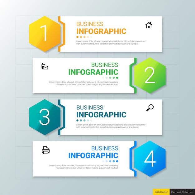 Plantilla de infografías de negocios con cuatro pasos Vector Premium