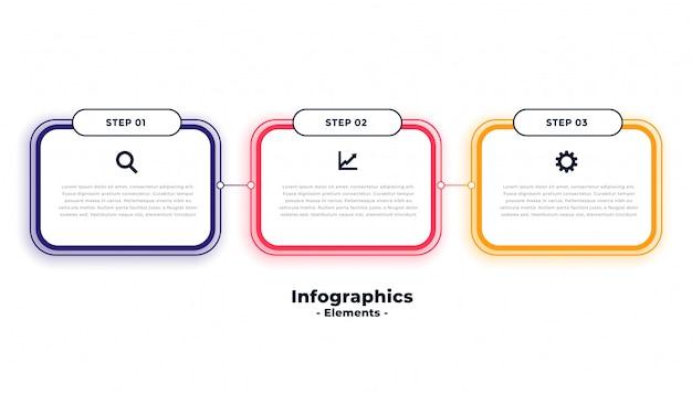 Plantilla de infografías de negocios de tres pasos vector gratuito