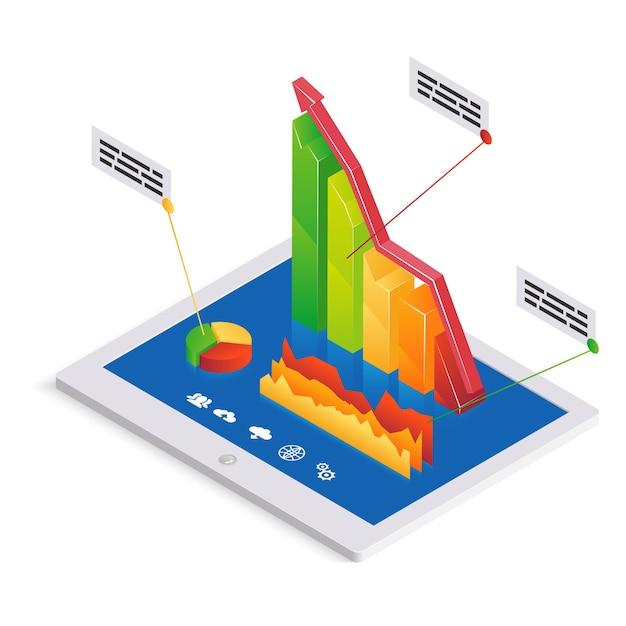 Plantilla de infografías o análisis de pc con un gráfico de barras 3d con una tendencia ascendente en la pantalla táctil de un tablet-pc junto con un gráfico circular y un gráfico fluctuante con cuadros de texto ilustración vectorial Vector Premium