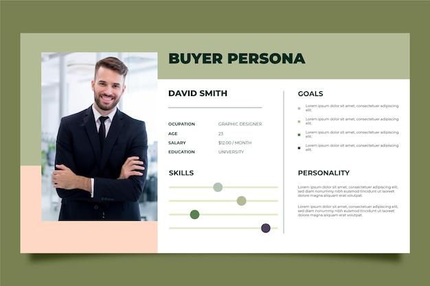 Plantilla de infografías de persona de comprador con foto vector gratuito