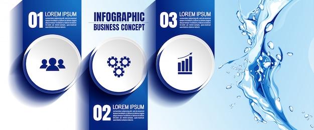 Plantilla de infografic con 3 pasos Vector Premium