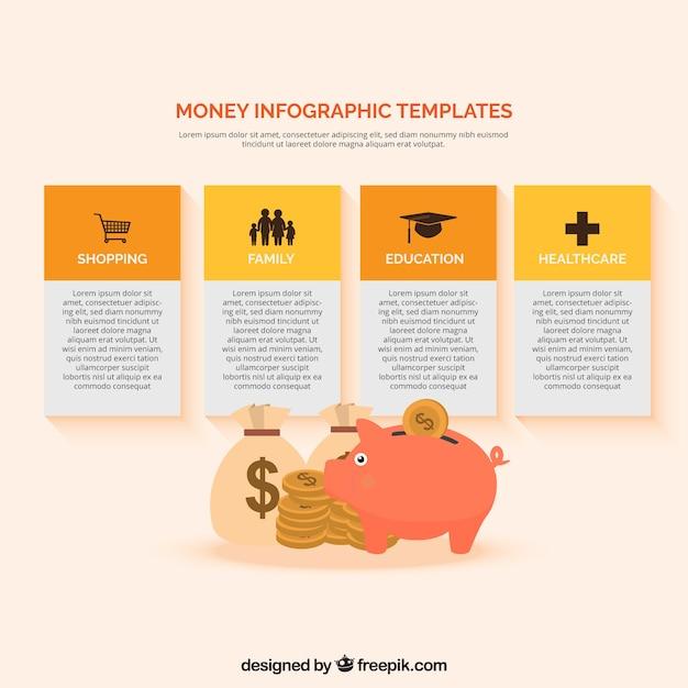 Plantilla infográfica de dinero con monedas y hucha | Descargar ...