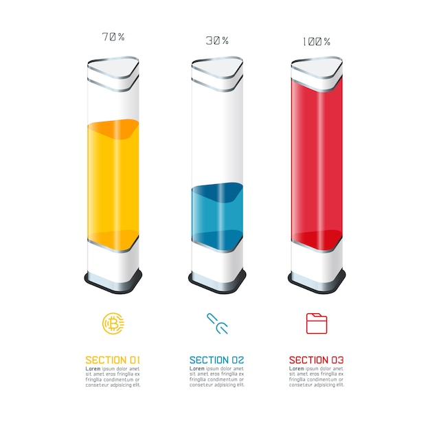 Plantilla del infographics del gráfico de barras con el pedazo colorido 3d. Vector Premium