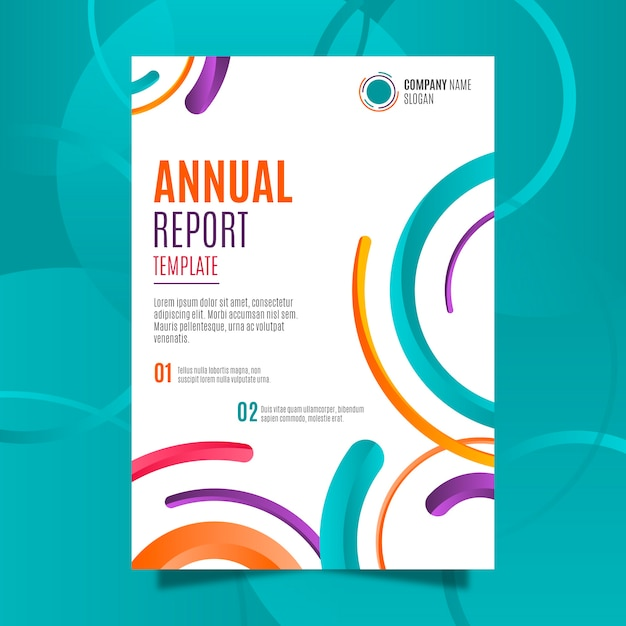 Plantilla de informe anual abstracto colorido Vector Premium