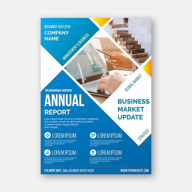 Plantilla de informe anual abstracto con foto vector gratuito