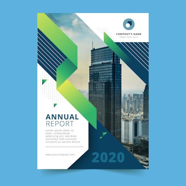 Plantilla de informe anual de construcción de gran ciudad Vector Premium