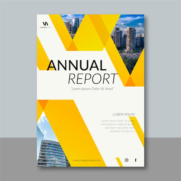 Plantilla de informe anual de diseño abstracto vector gratuito