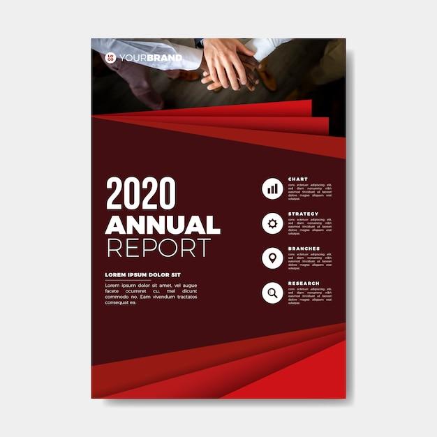 Plantilla de informe anual de manos de trabajo en equipo vector gratuito