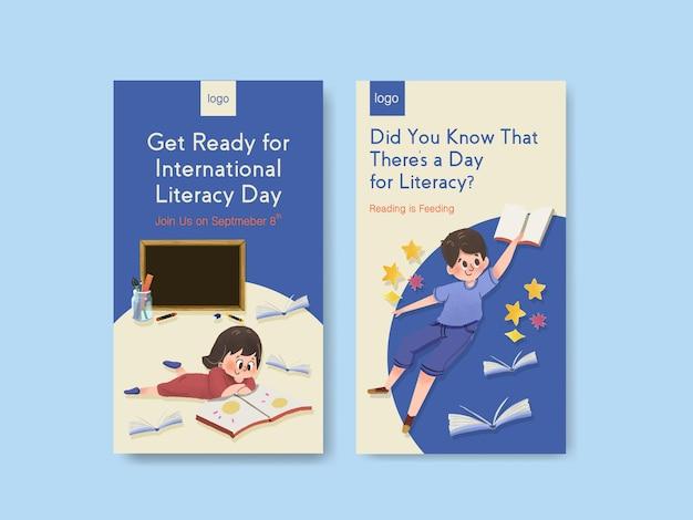Plantilla de instagram con diseño de concepto del día internacional de la alfabetización para marketing online vector gratuito