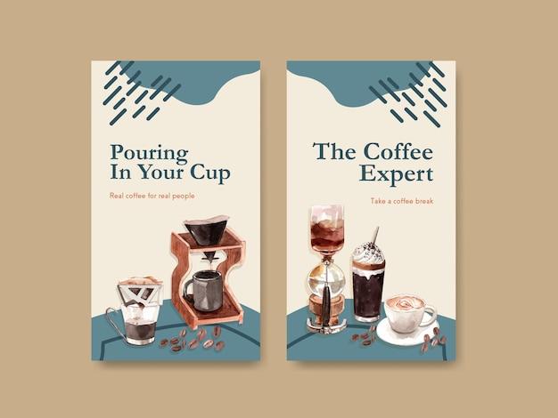 Plantilla de instagram con diseño de concepto del día internacional del café vector gratuito