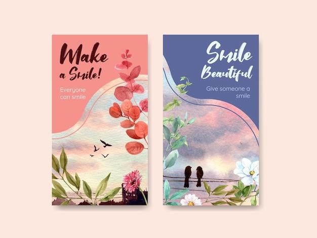 Plantilla de instagram con diseño de ramo de flores para el concepto del día mundial de la sonrisa en las redes sociales y la ilustración de vector de acuarela de la comunidad. vector gratuito