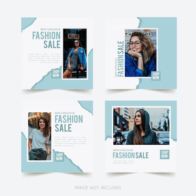 Plantilla de instagram de redes sociales de moda con publicación de paquete de papel rasgado Vector Premium